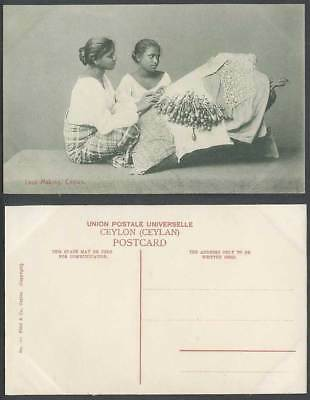Ceylon Old Postcard Lace Making Native Lacemaker Women Girls Ladies, Ethnic Life