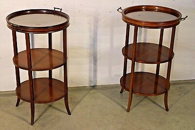 Matched pair antique tray top etagere wotnot  marquetry inlaid bedside tables