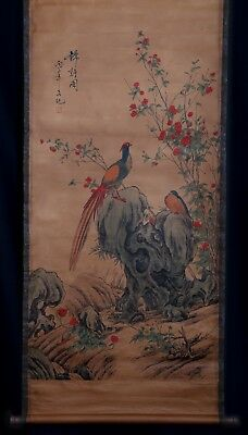 Awesome Rare Chinese Scroll Hand Painting red-crowned crane Mark LvJi KK615