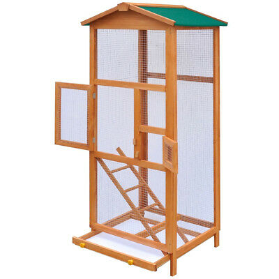 65″ Wooden Large Bird Cage Pet Play Covered House Ladder Feeder Stand Outdoor