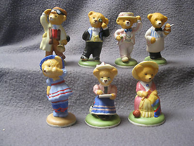 Lot Of 8 Franklin Mint Fine Porcelain Teddington Hotel Bears Figurines