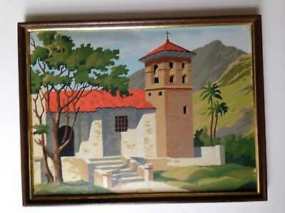 VIntage 60s Paint By Number Completed Artwork of mission house PBN