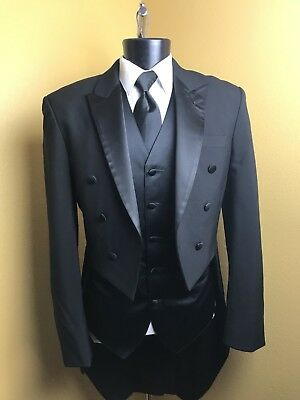"""Black Wool Peak Lapel Tailcoat / Costume several sizes up to 68"""" chest"""