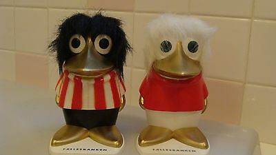 Vintage Sets Of 2 BIRD/CROW Girl & Boy Money Box With Original Key Made Finland