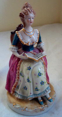 Occupied Japan Hand Painted Gold Trim Sitting Classic Lady Book Figurine Signed