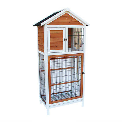 Wooden Heavy Duty Bird Cage Parrot Walk In Aviary Play Top LARGE Pet House