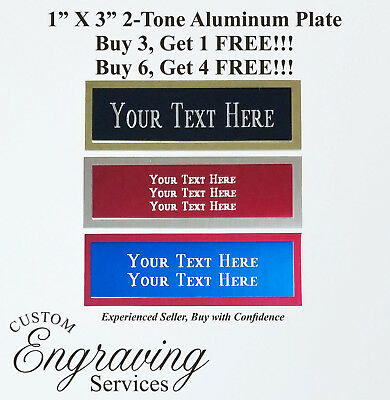 """Engraved 1""""x3"""" Custom TWO TONE Aluminum Trophy Plate Name Tag Plaque Memorial"""