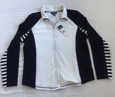 NWT Chaps XL Sweat Jacket Full Zip New With Tags extra large white blue