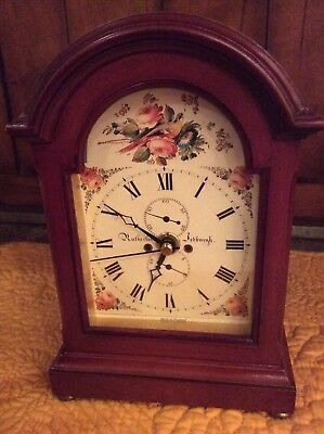 Roger Lascelles London Wood Mantle or Table  Clock England with Floral Face