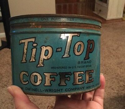 Vintage Advertising Tip-Top Coffee Tin Can Dwinell-Wright Company Boston Mass