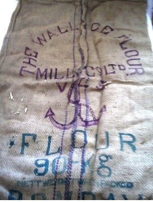 "alter Leinensack mit Aufdruck ""The Wallace Flour Mill & Ltd."" & ein Anker 65x100"