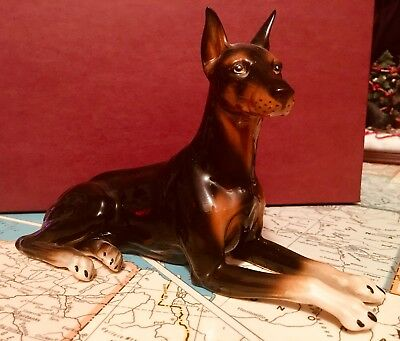 Vintage Doberman Pinscher Lying Figurine Andrea By Sadek Very Rare
