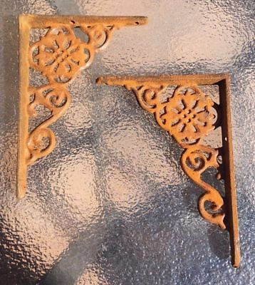 RUSTY cast iron ornate wall SHELF BRACKETS - pairs available