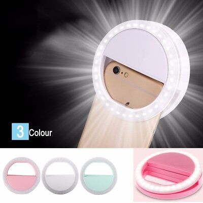 Selfie Light LED Ring Flash Fill Clip Camera For Phone iPhone Samsung HTC UK Hot