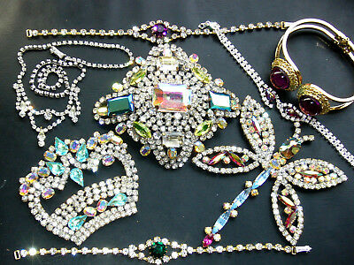 Vintage Exlusive Antique  Rhinestone Lot Of Jewerly Mix Glass *bijoux M.g  K487