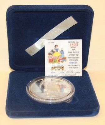 """""""Sneezy"""" Silver 5 oz Coin Snow White 50th Anniversary Proof New undisplayed."""