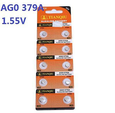 10X Coin Batteries AG0 L521 LR63 379A SR63 Coin Button Cell Battery Watch camera