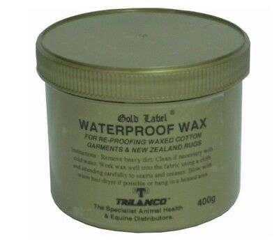 Gold Label Waterproof Wax 400G Re-proofing All Waxed Cotton Garments Horse Rugs