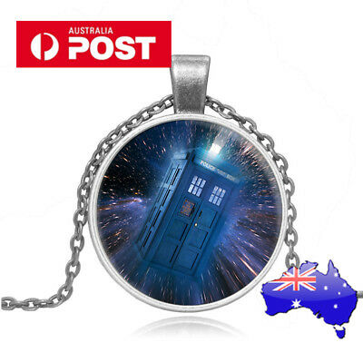 Dr Who POLICE BOX GLASS necklace pendant TARDIS silver  Doctor Who chain classic