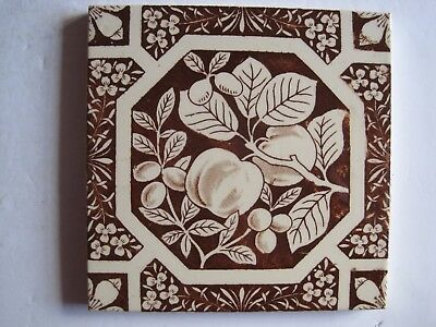 ANTIQUE VICTORIAN WALL TILE BROWN PEACHES & PLUMS TRANSFER PRINT c1884 No.175