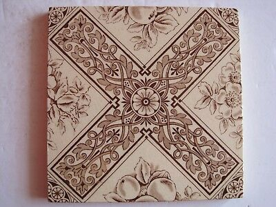Antique Victorian Elijah Birch Wall Tile Brown Floral Transfer On Cream