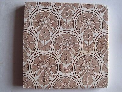 Antique Victorian Aesthetic Wall Tile Salmon Pink Floral Transfer Print