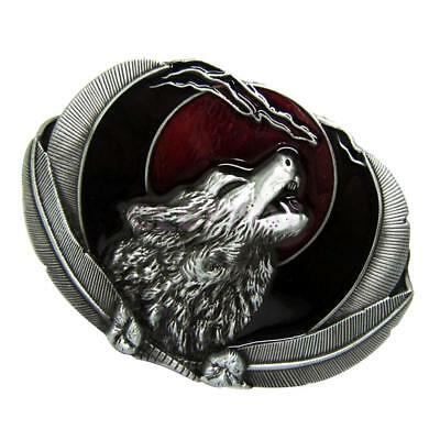 Vintage Western Belt Buckle Howling Wolf Metal Cowboy Classic Casual Antique