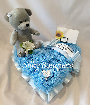 Funeral Flower Heart Artificial Silk Teddy Tribute Floral Wreath Memorial Child
