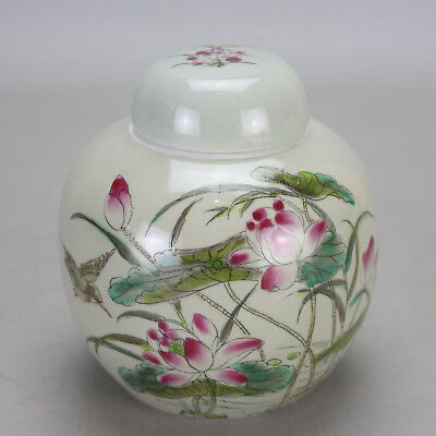 Chinese old hand-carved porcelain famille rose bird & flower pattern tea caddy