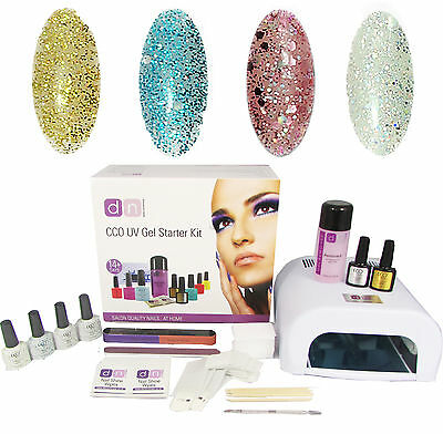 CCO Glamour & Glitz 4 Colour UV Nail Gel Polish Starter Kit Set with 36W Lamp