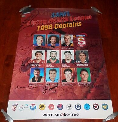 1998 SANFL Captain's Poster with Printed Signatures - Platten, Lee, McIntosh
