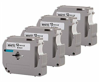 "4PK Onirii Compatible Brother P-touch M231 MK231 M-k231 Label Tape 0.47""12mm on"