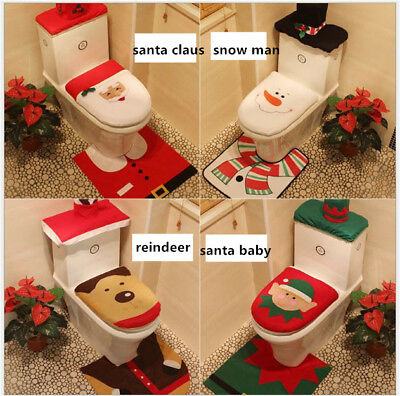 Christmas decorations Xmas Santa Claus toilet seat cover three piece sets gifts