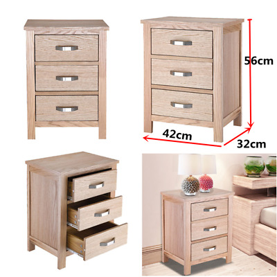 Wooden Bedside Table Waxed Bedside Cabinet 3 Drawers Chest Nightstand Bedroom