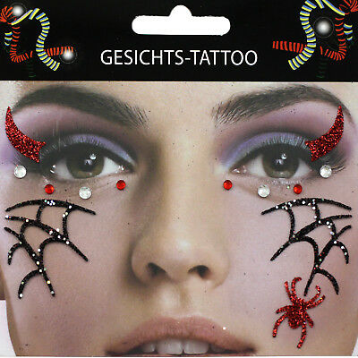 Gesichts Tattoo Face Art Halloween Karneval Party Make UP Spinne