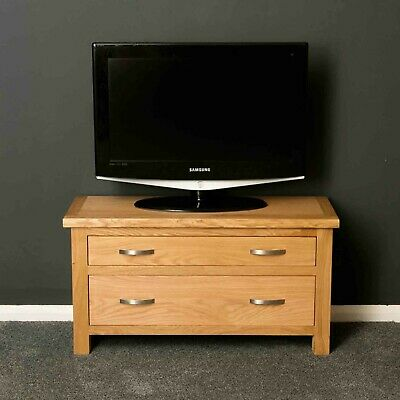 London Oak TV Stand with Drawers / Light Oak Low Chest / Solid Wood TV Unit /New
