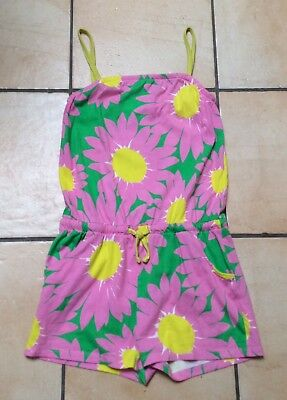 Girls Mini Boden floral pink, green and yellow playsuit. age 9-10 years