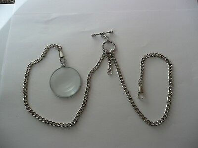 Monocle 6x Magnifier double albert silver plated  pocket watch chain fob t bar