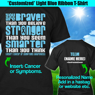 7371bbfd2b6 PERSONALIZED CERVICAL CANCER Awareness T-Shirt Braver Teal White ...