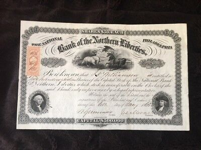 Bank of the Northern Liberties (Philadelphia) Stock Certificate 1865