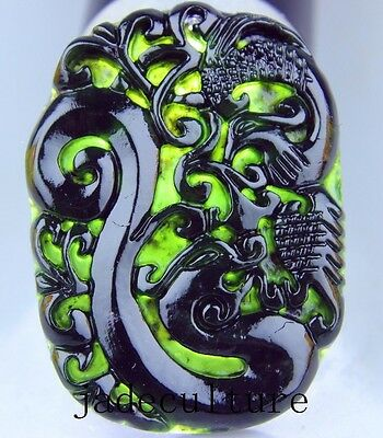 Natural chinese black green Jadeite jade phoenix pendant necklace hand-carved