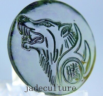 100% Natural chinese black green Jadeite jade Wolf pendant necklace hand-carved