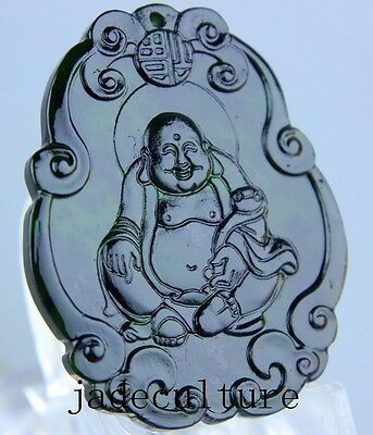 Natural chinese black green Jadeite jade Buddha pendant necklace hand-carved