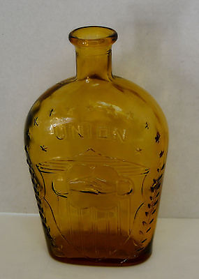 Whiskey Glass Union  Reproduction Bottle/Flask  Brown/Amber