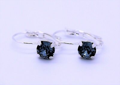 Silver Plated Leverback Earrings-6mm Indian Sapphire Swarovski Crystal Elements