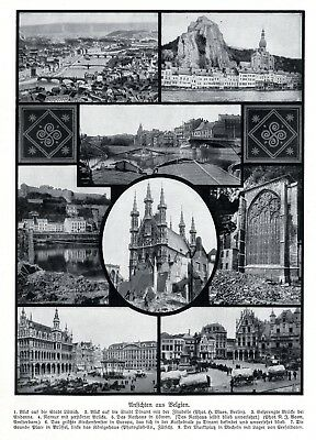 1914 Views from Belgium after the German occupation * WW 1