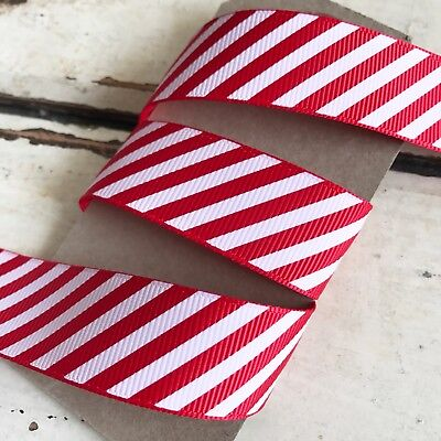 Christmas Red & White Candy Cane Stripe Grosgrain Ribbon 22mm 1M - Full 25M Roll