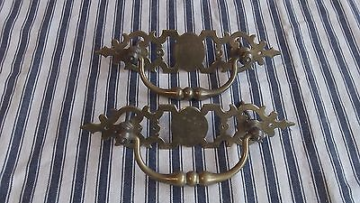 Pair of Vintage French Brass drop bar handles with lovely detailed Embellishment
