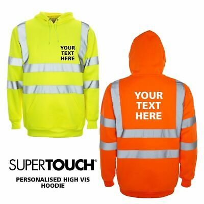 Custom Printed Hi Viz Vis Personalised Top Hoodie Fleece Sweater Safety Workwear
