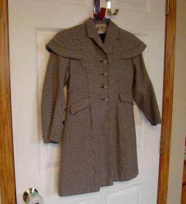 """VINTAGE 1940s GIRLS COAT~CUSTOM TAiLORED~HOUNDSTOOTH~29 1/2"""" total length~lined"""